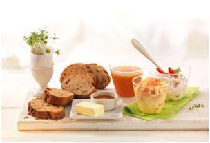 Osterbrunch mit Paprika-Quark Aufstrich und Krabben-Rührei - BCM Diät Rezepte.de
