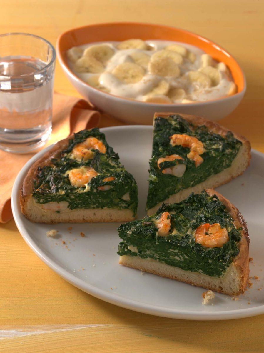 Spinatquiche mit Garnelen - BCM Diät Rezepte.de