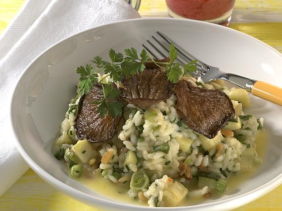 Zucchini-Kräuterrisotto mit Austernpilzen - BCM Diät Rezepte.de