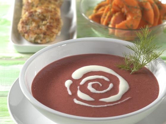 Rote Bete-Kartoffelsuppe mit Zanderfrikadellen - BCM Diät Rezepte.de