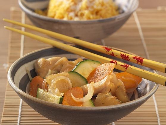 Hähnchenbrust mit gebratener Ananas und Kokos-Curryreis - BCM Diät Rezepte.de