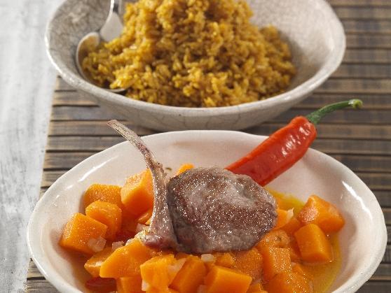 Lammkotelett auf Kürbis und Sesamreis - BCM Diät Rezepte.de