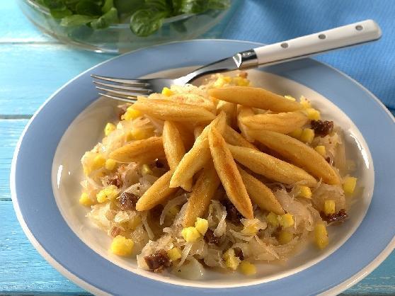 Schupfnudeln auf Feigen-Ananas-Kraut - BCM Diät Rezepte.de