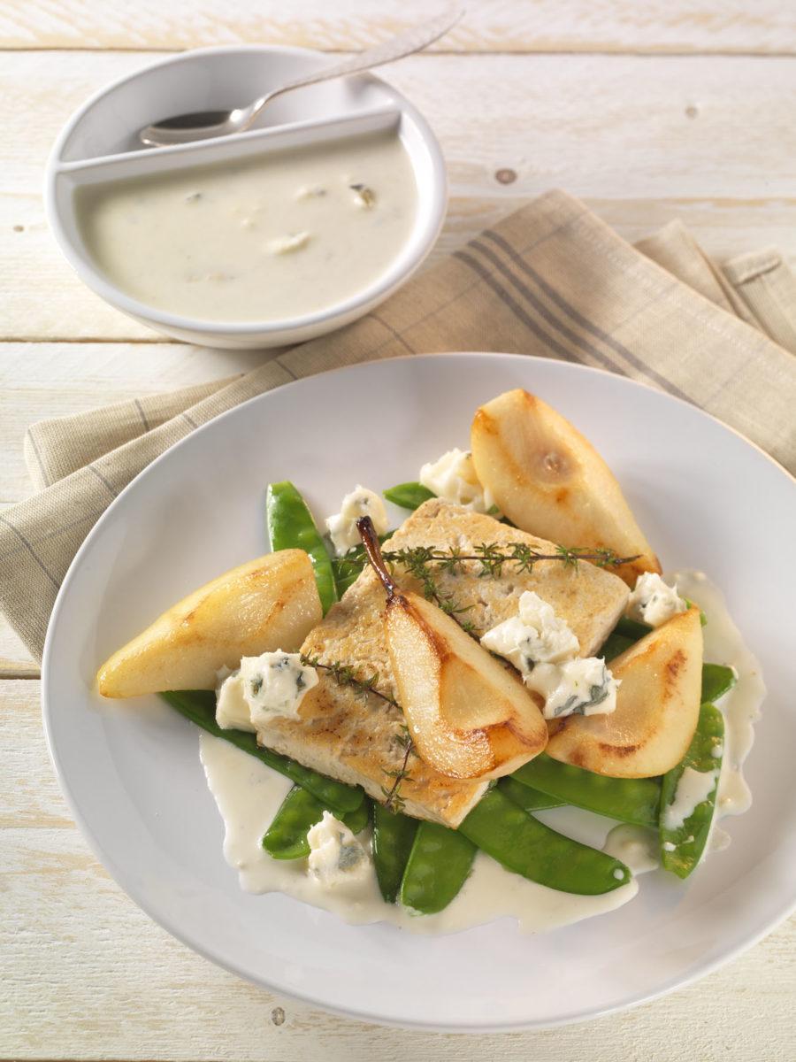 Gebratener Tofu mit Birne, Zuckerschoten und Gorgonzola - BCM Diät Rezepte.de