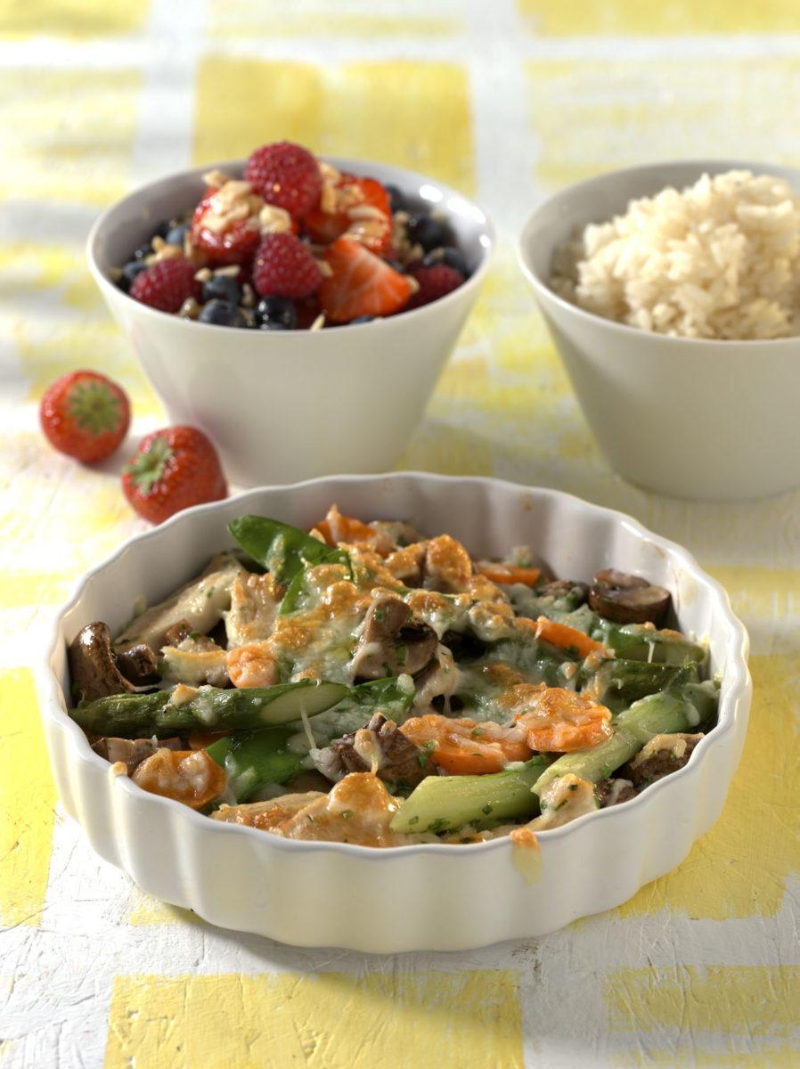 Gratiniertes Marktgemüse mit Hähnchenbrust - BCM Diät Rezepte.de