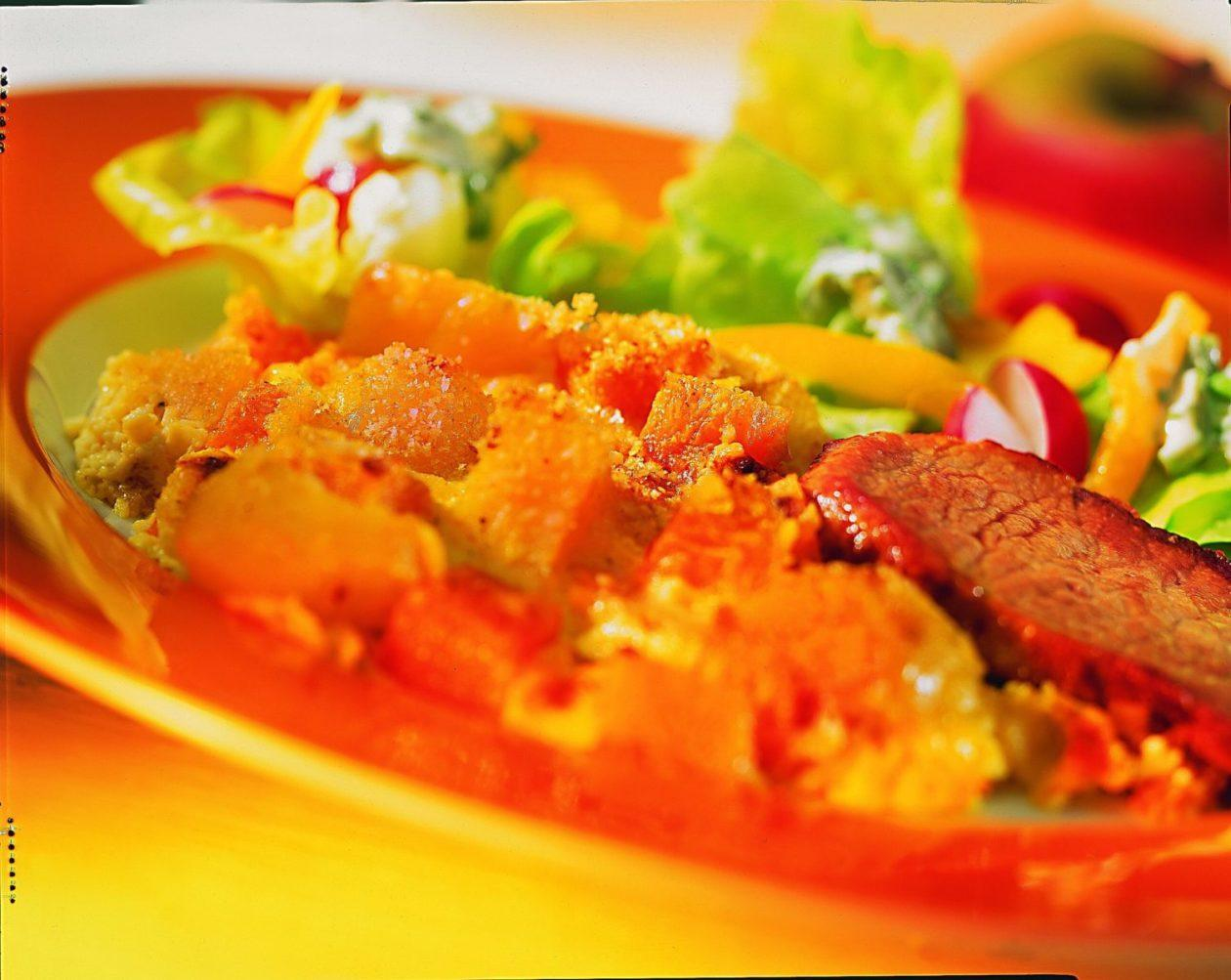 Kürbisauflauf mit Schweineschnitzel - BCM Diät Rezepte.de