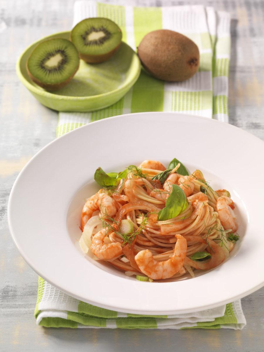 spaghetti in fenchel shrimps sauce