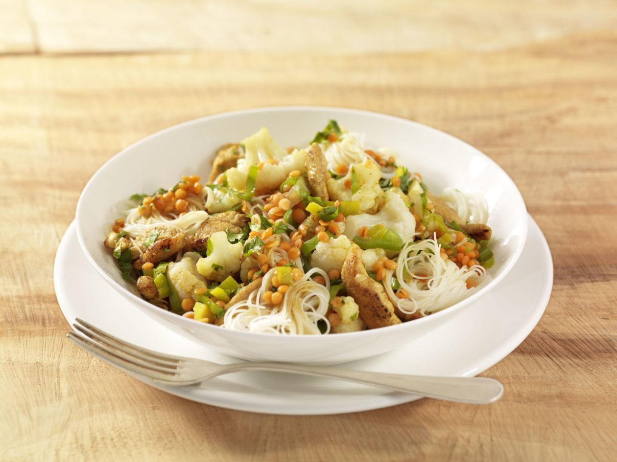 Gewokter Blumenkohl mit Korianderhähnchen - BCM Diät Rezepte.de