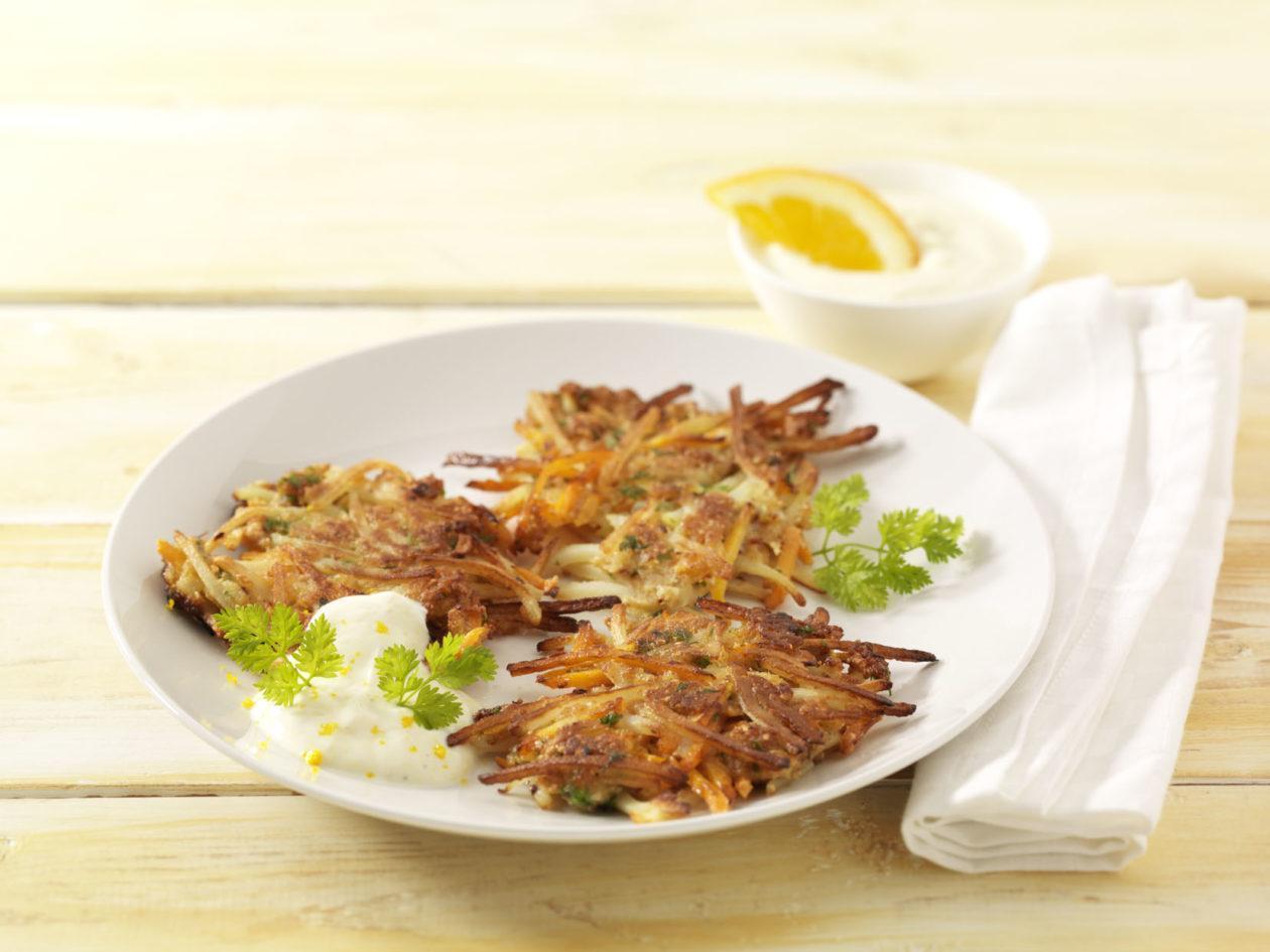 Möhrenrösti mit Ingwer-Orangen-Quark - BCM Diät Rezepte.de